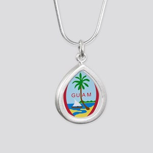 Seal of Guam Silver Teardrop Necklace